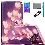 coco Fun® glänzende Herz-Muster PU-Lederetui mit V8-USB-Kabel, FLIM und Stylus für Samsung Galaxy Note 5