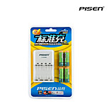 Pisen 4 Bay/Slot AA AAA Ni-MH Rechargeable Battery Charger Foldable AC Wall Plug pack with 4 1800mAh AA Batteries