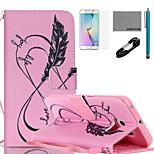 coco Fun® rosa Liebesleben Muster PU-Lederetui mit V8-USB-Kabel, flim, Stift und stehen für Samsung Galaxy S6 Kante