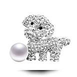 Alloy Small Cartoon Dog Pearl Brooch