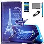 COCO FUN® Tower Drawing Pattern PU Leather Case with V8 USB Cable Flim and Stylus for Samsung Galaxy Grand Prime G530