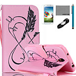COCO FUN® Pink Love Life Pattern PU Leather Case with V8 USB Cable, Flim, Stylus and Stand for Samsung Galaxy S4 I9500