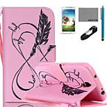 coco Fun® rosa Liebesleben Muster PU-Lederetui mit V8-USB-Kabel, flim, Stift und stehen für Samsung Galaxy S4 i9500