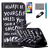 COCO FUN® Always Be Yourself Pattern PU Leather Case with V8 USB Cable, Stylus and Stand for Samsung Galaxy S5 I9600