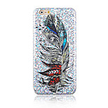 Feather Pattern Glitter Hard Back Cover Case for iPhone6/6S
