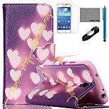 COCO FUN® Shiny Heart Pattern PU Leather Case with V8 USB Cable, Flim and Stylus for Samsung Galaxy S4 MINI i9190