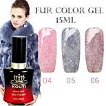 1PCS KOUYI Fur Color Gel 12Colors 15ml Long Lasting Nail Polish 4-6