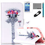 COCO FUN® Garland Giraffe Pattern PU Leather Case with V8 USB Cable, and Stylus for Samsung Galaxy S4 MINI i9190