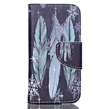Blue Feathers Painted PU Phone Case for ipod touch5/6