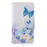 mariposa azul caso pintado del teléfono de la PU para Sony Xperia z5 compacta