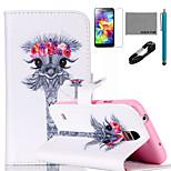 coco Fun® Augen Girlande Giraffenmuster PU-Lederetui mit V8-USB-Kabel, Stift und stehen für Samsung Galaxy S4 i9500