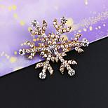 Vintage Inlay Diamond Snowflake Brooch