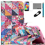 COCO FUN® Retro Flower Checks Pattern PU Leather Case with V8 USB Cable, Flim and Stylus for Samsung Galaxy S5 MINI