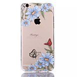 Blue Flowers TPU+Acrylic Anti-Scratch Backplane Combo Phone Case for iPhone 6/6S