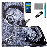 COCO FUN® Night Owl Pattern PU Leather Case with V8 USB Cable Flim and Stylus for Samsung Galaxy Grand Prime G530