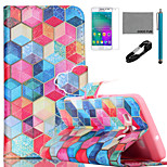 COCO FUN® Colorful Diamondcheck Pattern PU Leather Case with V8 USB Cable, Flim and Stylus for Samsung Galaxy A3