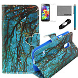 COCO FUN® Blue Grounding Branch Pattern PU Leather Case with V8 USB Cable, Flim and Stylus for Samsung Galaxy S5 MINI
