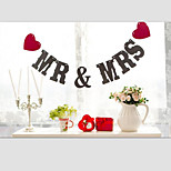 Popular Black MR&MRS with String Red Hearts Wedding Banner Party Decorations
