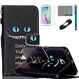 COCO FUN® Blue Eyes Cat Pattern PU Leather Case with V8 USB Cable, Flim, Stylus and Stand for Samsung Galaxy S6 edge