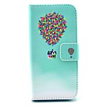 Colorful Balloon with House Pattern PU Leather Stand Case Cover with Card Slot for iPhone 5/5S