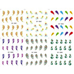 6PCS Feather Series Mixed Water Transfer Nail Printing Nail Stickers
