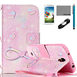 COCO FUN® Pink Romantic Pattern PU Leather Case with V8 USB Cable, Flim, Stylus and Stand for Samsung Galaxy S4 I9500
