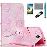 Modelo romántico rosa caja de cuero de la PU de coco Fun® con el cable usb v8, flim, lápiz óptico y soporte para i9500 Samsung Galaxy S4