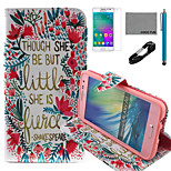 COCO FUN® Little Flower Pattern PU Leather Case with V8 USB Cable, Flim and Stylus for Samsung Galaxy A3