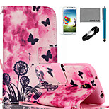 COCO FUN® Dandelion Pattern PU Leather Case with V8 USB Cable, Flim, Stylus and Stand for Samsung Galaxy S4 I9500