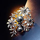 Sun Flower Silver Pearl Brooch