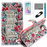 COCO FUN® Little Flower Pattern PU Leather Case with V8 USB Cable, Flim, Stylus and Stand for Samsung Galaxy S6 edge