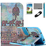 COCO FUN® Wall Painting Pattern PU Leather Case with V8 USB Cable, Flim, Stylus and Stand for Samsung Galaxy S4 I9500