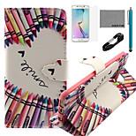 coco Fun® Kreide Herz-Muster PU-Lederetui mit V8-USB-Kabel, flim, Stift und stehen für Samsung Galaxy S6 Kante