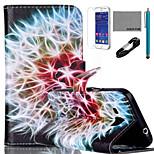 estojo de couro padrão de coco fun® leão pu com v8 usb cabo, flim e stylus para samsung galaxy núcleo G360 privilegiada