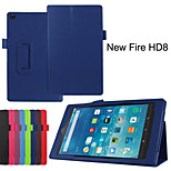 Premium PU Leather Folio Stand Cover Case for Amazon New Fire HD 8  (Assorted Colors)