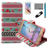 COCO FUN® Rose Stripe Pattern PU Leather Case with V8 USB Cable, Film and Stylus for Samsung Galaxy S6