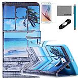 coco Fun® Fenstermuster PU-Lederetui mit V8-USB-Kabel, flim, Stift und stehen für Samsung Galaxy S6 Kante