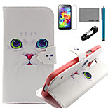 COCO FUN® White Cat Pattern PU Leather Case with V8 USB Cable, Flim, Stylus and Stand for Samsung Galaxy S5 I9600