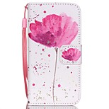 The New Poppies Pattern Lanyard PU Leather Material Flip Card Cell Phone Case for iPhone 5 /5S