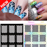 1Pcs The New Manicure Printing Template Hollow DIY Creative Decals (Black And White、Silver Color /10 Style)