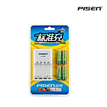 Pisen 4 Bay/Slot AA AAA Ni-MH Rechargeable Battery Charger Foldable AC Wall Plug Pack with 4 2300mAh AA Batteries
