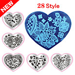 1PCS The New Manicure Printing Plate Template Love DIY Blue Film Printing Template 28 Peach Nail