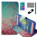 COCO FUN® Sky Red Floral Pattern PU Leather Case with V8 USB Cable, Flim and Stylus for Samsung Galaxy A3