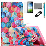 COCO FUN® Colorful Diamondcheck  Pattern PU Leather Case with V8 USB Cable, Flim and Stylus for Samsung Galaxy A5