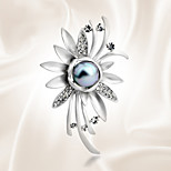 All-match Sun Flower Temperament Pearl Brooch