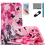 COCO FUN® Dandelion Pattern PU Leather Case with V8 USB Cable, Flim, Stylus and Stand for Samsung Galaxy S6