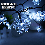 King Ro solar 21.32ft 30LED Snow Flake Light Christmas Parties Decoration Light Outdoor Waterproof  String Lights