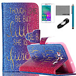 COCO FUN® Golden Words Pattern PU Leather Case with V8 USB Cable, Flim and Stylus for Samsung Galaxy A3