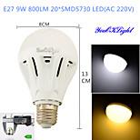 YouOKLight® 1PCS E27 9W 20*SMD5730 800LM White/ Warm White Light LED Energy saving High quality Globe Bulbs (AC 220V)