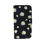 negro con el crisantemo de la PU cuero caso de cuerpo completo con soporte para el iphone 5 / 5s